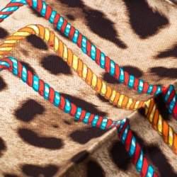 Dolce & Gabbana Brown Leopard and Tassel Print Silk Square Scarf