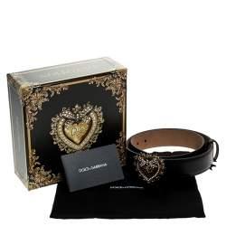 Dolce & Gabbana Black Leather Devotion Heart Buckle Belt 75cm