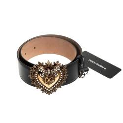 Dolce & Gabbana Black Leather Devotion Belt 80CM