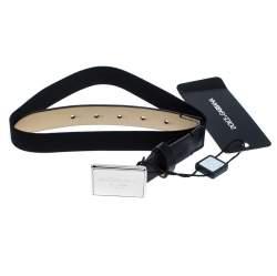 Dolce & Gabbana Black Leather and Elastic Logo Plaque Belt 63CM