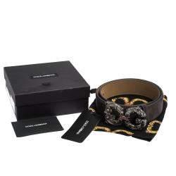 Dolce & Gabbana Dark Brown Suede Leather DG Amore Logo Belt 90CM