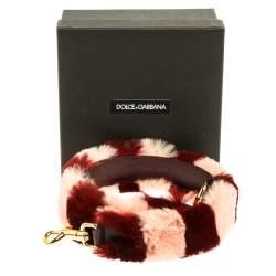 Dolce & Gabbana Pink/Burgundy Rabbit Fur And Leather Shoulder Bag Strap