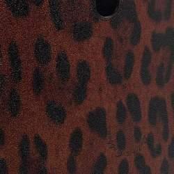 Dolce & Gabbana Black/Brown Leopard Print Coated Canvas iPad Case