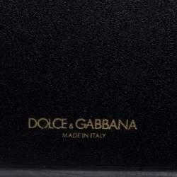 Dolce & Gabbana Black Leather Crystal Logo iPhone 12 Case