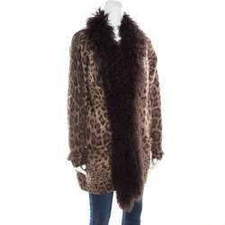 Dolce & Gabbana Brown Wool and Mohair Animal Printed Lamb Fur Trim Detail Jacket M
