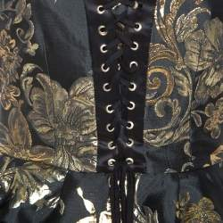 Dolce & Gabbana Black and Gold Jacquard Off Shoulder Corset Top S