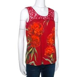 Dolce & Gabbana Red Floral Printed Crepe & Lace Trim Sleeveless Top S