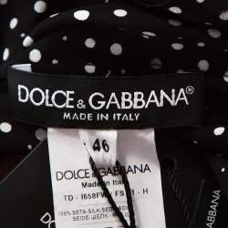 Dolce & Gabbana Monochrome Polka Dot Silk Belted Maxi Dress L