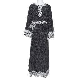Dolce & Gabbana Monochrome Polka Dot Silk Belted Maxi Dress S