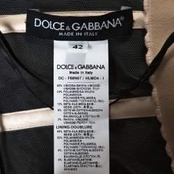 Dolce & Gabbana Black Floral Lace Bustier Detail Strapless Gown M