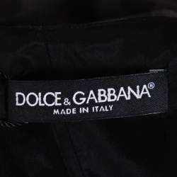 Dolce & Gabbana Grey Polka Dotted Wool Embellished Shift Dress M