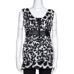Dolce & Gabbana Monochrome Leaf Print Silk Ruffled Top M