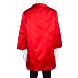 Dolce & Gabbana Red Silk Satin Button Front Coat L