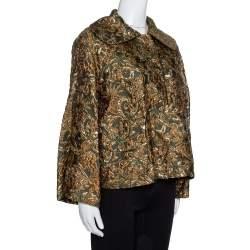 Dolce & Gabbana Green Lurex Floral Jacquard Oversized Jacket S