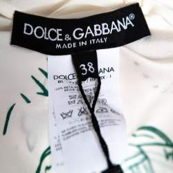 Dolce & Gabbana White Bird Cage Print Silk Blouse S