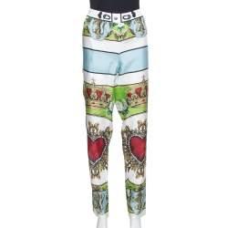 Dolce & Gabbana White Sacred Heart Print Silk Tapered Trousers S