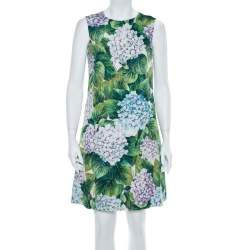 Dolce & Gabbana Multicolor Cotton Hydrangea Print A line Dress S