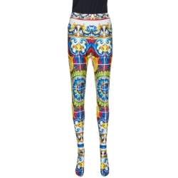 Dolce & Gabbana Multicolor Majolica Print Jersey Footed Leggings L