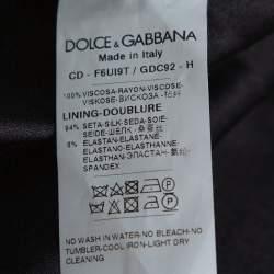 Dolce & Gabbana Black Rose Print Crepe Shift Dress S