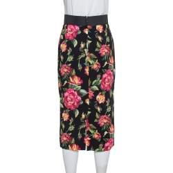 Dolce & Gabbana Black Floral Print Cady Pencil Skirt S