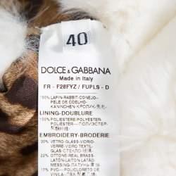 Dolce & Gabbana White Fur Stone & Sequin Embellished Open Front Crop Jacket S