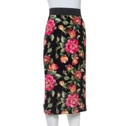 Dolce & Gabbana Black Crepe Floral Printed Pencil Skirt M