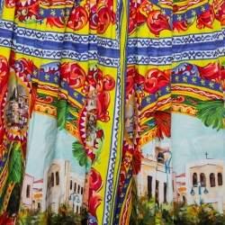 Dolce & Gabbana Multicolor Sicilian Postcard Printed Cotton Midi Skirt S