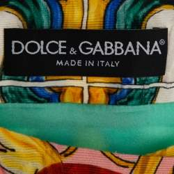 Dolce & Gabbana Multicolor Majolica Printed Textured Cotton Double Breasted Light Weight Coat L