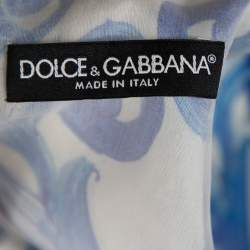 Dolce & Gabbana White Majolica Printed Silk Flared Mini Dress M