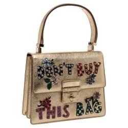 Dolce & Gabbana Gold Embellished Leather Rosalia Top Handle Bag