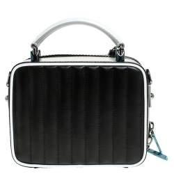 Dolce & Gabbana Black/White Coated Canvas DG Girls Crossbody Bag