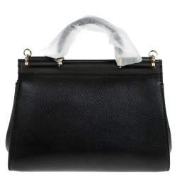 Dolce & Gabbana Black Leather Soft Medium Miss Sicily Top Handle Bag