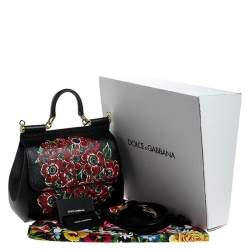 Dolce & Gabbana Black Floral Printed Leather Medium Miss Sicily Top Handle Bag