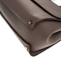Dolce & Gabbana Dark Beige Leather Large Miss Sicily Top Handle Bag