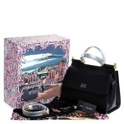 Dolce & Gabbana Black Leather Sicily 58 Top Handle Bag