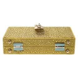 Dolce & Gabbana Yellow/Gold Crystal Embellished Satin Box Bag