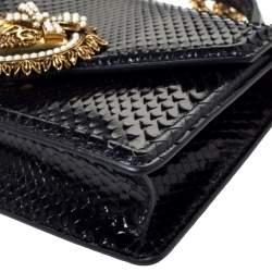 Dolce & Gabbana Black Python Small Devotion Top Handle Bag