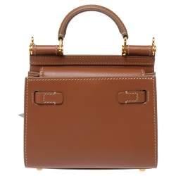 Dolce & Gabbana Tan Leather Micro Sicily 58 Top Handle Bag