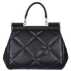 Dolce & Gabbana Black Leather Small Sicily Bag