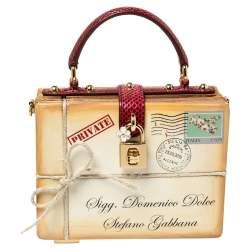 Dolce & Gabbana Beige/Maroon Wood and Python Postage Box Dolce Box Bag