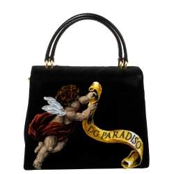 Dolce & Gabbana Black Velvet and Python Handle Welcome Fashion Devotion Top Handle Bag
