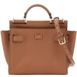 Dolce & Gabbana Brown Leather Sicily 62 Soft Small Bag