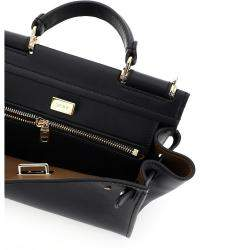 Dolce & Gabbana Black Leather Sicily 62 Soft Small Bag