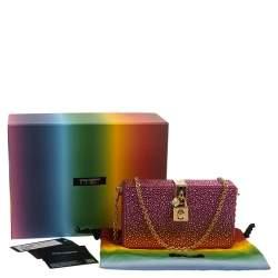 Dolce & Gabbana Pink Heat-Applied Rhinestones Dolce Box Chain Clutch