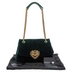 Dolce & Gabbana Green Quilted Velvet Large Devotion Shoulder Bag