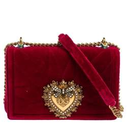 Dolce & Gabbana Red Quilted Velvet Medium Devotion Chain Shoulder Bag