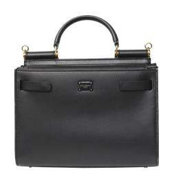 Dolce & Gabbana Black Leather Sicily 62 Top Handle Bag