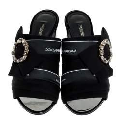 Dolce & Gabbana Black Satin Crystal Embellished Bow Open Toe Mules Size 40