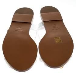 Dolce & Gabbana White Patent Leather And Raffia Pom Pom Crystal Embellished Flat Sandals Size 38