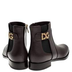 Dolce & Gabbana Brown Leather Logo Detail Ankle Boots Size 38